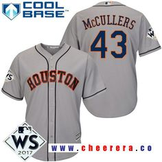 Men s Houston Astros Lance McCullers Gray Road 2017 World Series Patch  Majestic Cool Base MLB Jersey 32b238c49339