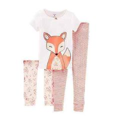 Carter's Toddler Girls Fox Sleepwear Pajama PJ 3 Piece Set 3T