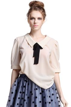 ROMWE | Feminine Bowknot Cream Blouse, The Latest Street Fashion