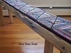 Rug Hooked Bench, Rug Hooking, Wool Rug Hooking, Wood Bench, Barn Wood, Rug Hooked Runner