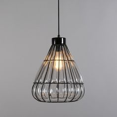 Lámpara colgante VENICE 3 negra con cristal