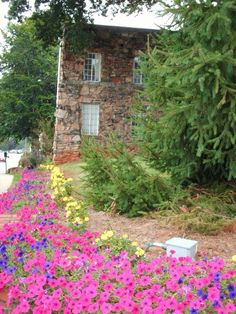 building with flowers, Mars Hill College