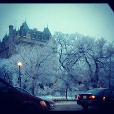 Hoar frost and the Fort Garry Hotel. Winnipeg, Canada