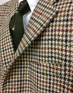 Heavyweight Division Harris Tweed Dogtooth 3/2 roll sport coat from O'Connell's, accompanied by J. Press Game Bird tie and flap pocket OCBD.