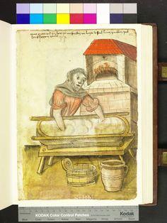 Amb. 317.2° Folio 85 recto. Bakers in the Mendel Hausbuch. Heincz Peuchlein (1466). Han gör något, istället för att stå och posera och se snygg ut. Yay! 2014-08-16.