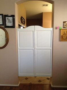 Painted White Swinging Cafe Doors For Kitchen Entry Available In 24 To 54