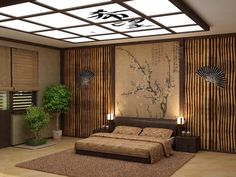 japanese-style room with bamboo wallpaper, and a painting of a blossoming cherry tree, bedroom wall decor, bonsai trees and decorative fans