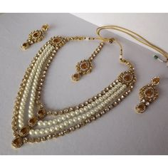 Online Shopping for Haar Style Kundan and Pearl Necklac | Necklaces | Unique Indian Products by Bhamini Jewellery