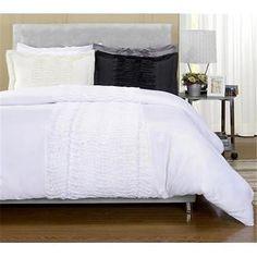 Neola Three Piece Microfiber Duvet Cover Set King/ California King White Bedding Bedroom