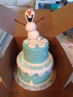 Frozen cake (with fondant Olaf!)