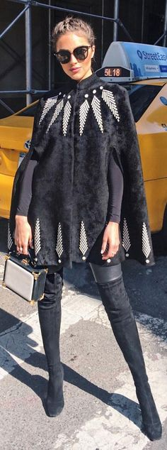 Olivia Culpo in Coat – Alexander McQueen Shirt – Wolford Shoes – Nicholas Kirkwood Purse – Aspinal of London Pants – J Brand