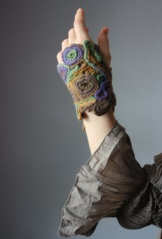 CHINESE DRAGON Designer Textile cuff / bracelet fingerless glove wool felted felt knotted braided [humanely sheered wool version]