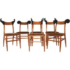 Set of Six Wood Chairs with Animals Horns, Signed, France, circa 1980 At Galerie Harter