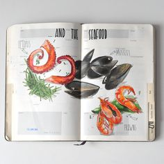Greece travelbook on Behance A Level Art Sketchbook, Travel Sketchbook, Sketchbook Inspiration, Bullet Journal Inspiration, Recipe Graphic, Recipe Drawing, Doodle Books, Food Drawing, Watercolor Sketch