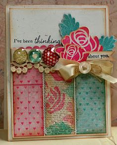 Supplies used:  Papetrey Ink Rosie Posie Stamps and Die Cuts  Papertrey Ink Background Basics Hearts  Papertrey Ink Blooming Button Bits Sentiment  Papertrey Ink Fine Linen Ribbon and Button  Papertrey Ink Rustic Cream Cardstock  Papertrey Ink Hawaiian Shores and Raspberry Fizz Ink  Glitz Design Pretty in Pink, French Kiss, and Happy Travels Papers and Giant Rhinestones  Tim Holtz Tea Dye Distress Ink  Memento Ink Tuxedo Black