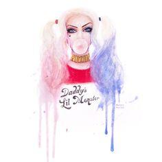 8621e976894838 Michelle Angelique Harley Quinn - Suicide Squad Watercolour Portrait  featuring polyvore filler backgrounds comics people dc