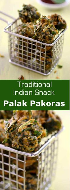 Palak pakoras are Indian fritters prepared with spinach and chickpea flour.