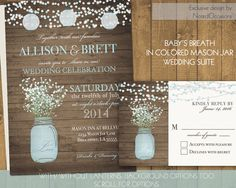 Mason Jar Wedding Invitation Suite - Rustic Country Baby's Breath in blue mason jar - Country Wedding Invitations | Optional Paper Lanterns by NotedOccasions, $45.00