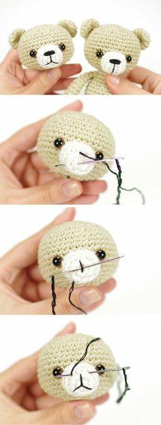 Amigurumi tutorial: Embroidering teddy bear, bunny and cat nose // Kristi Tullus (spire.ee) Amigurumi tutorial: Embroidering teddy bear, bunny and cat nose // Kristi Tullus (spire. Crochet Diy, Crochet Amigurumi, Crochet Bear, Amigurumi Patterns, Crochet Crafts, Crochet Dolls, Crochet Projects, Knitting Patterns, Crochet Patterns