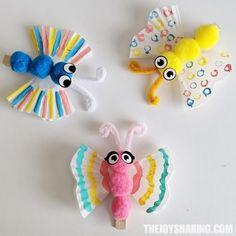 Preschool Cupcake Liner Butterfly Craft for Kids - Preschool Children Activities Butterfly Project, Butterfly Crafts, Flower Crafts, Spring Crafts For Kids, Arts And Crafts Projects, Diy Crafts For Kids, Kids Diy, Craft Ideas, Bunny Crafts