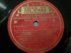 "Nice Label :-)  First and Big Auction 78rpm in 2017 Come in & find out   !!! Startprice only 1,99 Euro !!! Worldwide shipping !!!  VOICE OF THE STARS - Coronation Edition - No. 4 - 78rpm 10"" shellac record"