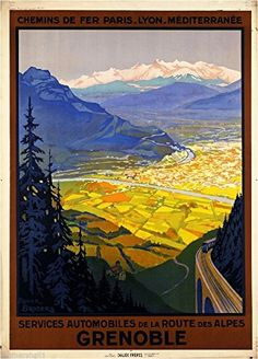 1930s Des Alpes Grenoble France French European Travel Art Poster Advertisement A SLICE IN TIME