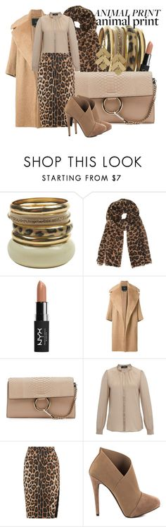 """Animal Print x 2"" by baratheon-girl ❤ liked on Polyvore featuring Wet Seal, NYX, MaxMara, Chloé, Hive & Honey, Hallhuber, Altuzarra and Jessica Simpson"
