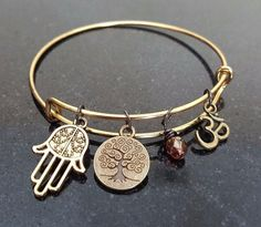 Hamsa Namaste Yoga Bracelet Bangle by SoutherncharmedStore on Etsy