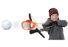 Crossbow Snow Launcher from Sharper Image.  You'll look forward to the next blizzard when you're armed with the Crossbow Snowball Launcher. Load a snowball into the front of the Launcher, pull back the lever, aim and fire at the target (provided) or your next victim. The Crossbow Launcher shoots snowballs up to 60 feet. Simply place snow in the snowball press to make 3 perfect snowballs, place the balls in the launcher and BLAST away!