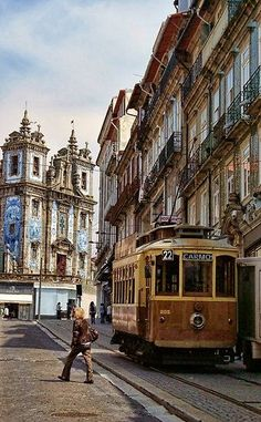 visiting Porto by tram , Portugal