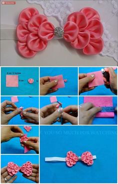 Here's the link to the tutorial >> How to Make Kanzashi Hair Bow << by the flower art