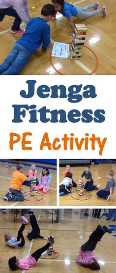 PE Teacher Bart Jones shares how to play Jenga Fitness an activity that helps students build skill in cooperation addition balance muscular strength and flexibility! Physical Activities For Kids, Elementary Physical Education, Pe Activities, Fitness Activities, Fitness Games For Kids, Kids Fitness, Movement Activities, Group Fitness, Educational Activities