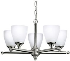 Ceiling Fans Decoration   Kichler Lighting 1748NI Ansonia 5Light Chandelier Brushed Nickel with SatinEtched Glass -- Click on the image for additional details. Note:It is Affiliate Link to Amazon.