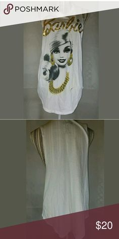 Womens Barbie Cut Off Graphic Workout Cut Off Top Womens Barbie Cut Off Graphic Workout Cut Off Top White Metallic Gold Medium Barbie Tops Muscle Tees