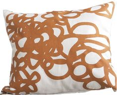 DAISY - orange. Soft graphic loops. Orange printed on off white pure linen with feather