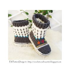 Fair Isle Sock-Boots for Kids Crochet Pattern by PdfPatternDesign