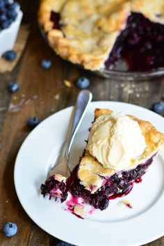 Blueberry Pie with a hint of apple   Garnish and Glaze