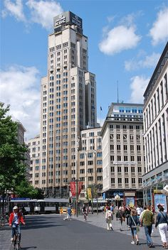 "The ""Boerentoren"" in Antwerpen - designed in Art-deco style, the Boerentoren may be considered Europe's first skyscraper. - http://www.skyscrapercenter.com/building/kbc-tower/5086"
