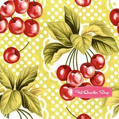 yellow vintage retro Fabric cherry