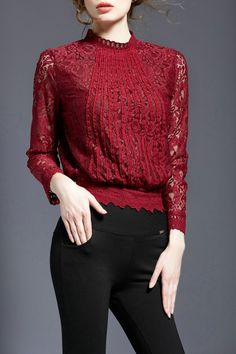 Kenviky Wine Red Lace Long Sleeve Blouse   Blouses at DEZZAL