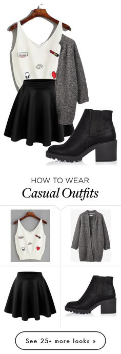 """Casual Black"" by danigonzza on Polyvore featuring LE3NO, Toast and River Island"