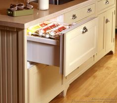 #Kitchen Idea of the Day: Traditional antique white kitchens. (By Crown Point Cabinetry). Very nice, antique white victorian refrigerator drawers