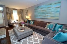 Gorgeous Turquoise And Grey Living Room But I Love That Painting Potentially For