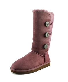 UGG AUSTRALIA | Ugg Australia Bailey Button Triplet Women  Round Toe Suede Purple Winter Boot #Shoes #Boots & Booties #UGG AUSTRALIA