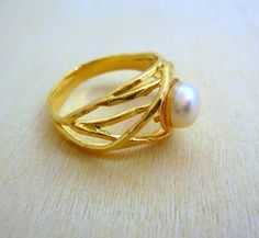 Gold 14K Natural white Pearl designer  Ring hand made