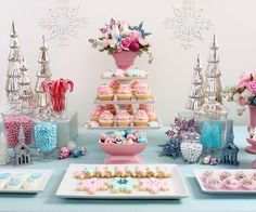 winter wedding sweets--- love the coral and mint but I would use gold instead of silver.