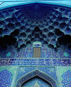 The blue tiled arch of the Jāmeh Mosque of Isfahan, Iran. The mosque has been in continual construction, renovation and restoration since It is the fourth oldest mosque in Iran and still in use. ~ Photo by Tandis Khodadadian Magazine Islamic Architecture, Beautiful Architecture, Art And Architecture, Beautiful Mosques, Beautiful Places, House Beautiful, Style Oriental, Woodland Hills, Place Of Worship