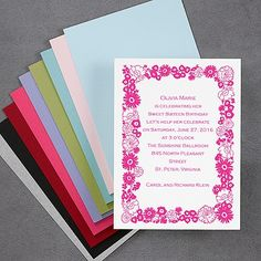 |  40% OFF  | Floral Border - Vertical - Invitation  http://mediaplus.carlsoncraft.com/Parties--Celebrations/Sweet-Sixteen/NA-NA837V-Floral-Border--Vertical--Invitation.pro#imageSelect=109185