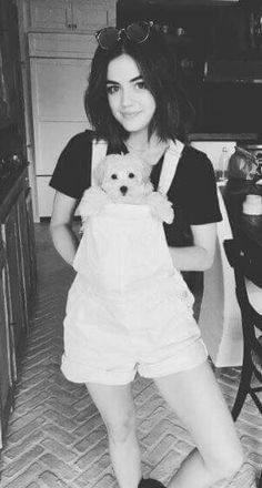 Lucy Hale - lucyhale: Taking overalls to a whole new level with Elvis.