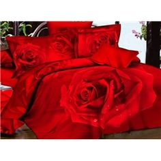 Gorgeous Red Roses 4 Piece 3D Bedding Sets
